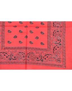 Šatka s paisley potlačou, červený, 50x50cm