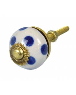 Maľované porcelánové madlo na šuflík, biele, modré bodky, priemer 2,7cm