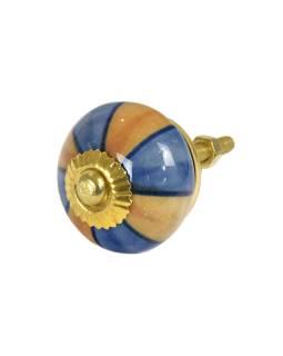 Maľované porcelánové madlo na šuplík, modro-hnedé, zlatý dekor, priemer 3,7 cm