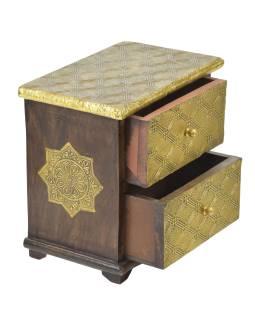 Drevená skrinka s mosadzným kovaním, 2 šuplíky, 21x13x21cm