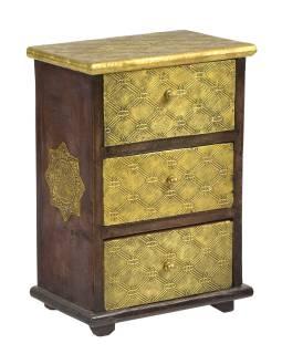 Drevená skrinka s mosadzným kovaním, 3 šuplíky, 21x13x29cm