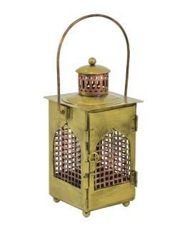 Kovová lampáš vo farbe mosadze, 12x12x25cm