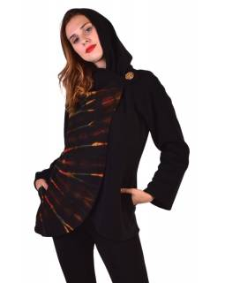 Čierny fleecový kabát s kapucňou zapínanie na gombík, dve vrecká, batika