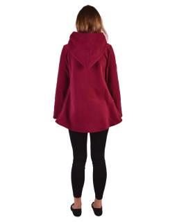 Vínový fleecový kabát s kapucňou zapínanie na gombík, dve vrecká, batika