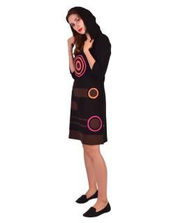 Krátke šaty, 3/4 rukáv, čierne, farebné kruhy, hnedé pruhy, kapucňa
