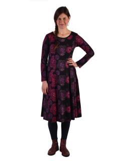 Šaty s dlhým rukávom, strihané pod prsiami, čierne s ružovo-fialovým potlačou