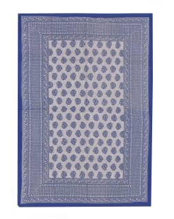 Prikrývka na posteľ s ručným tlačou, modrý, 220x136cm