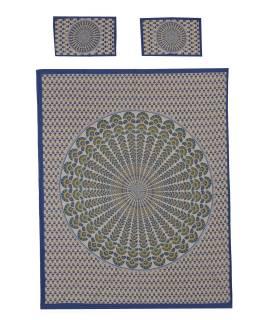 Prikrývka na posteľ a dva obliečky na vankúše s mandalou, modrý, 216x260cm