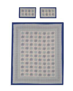 Prikrývka na posteľ a dva obliečky na vankúše s potlačou stromov, modrý, 212x258cm