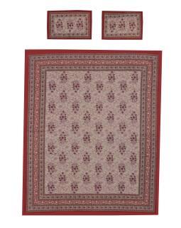 Prikrývka na posteľ a dva obliečky na vankúše s potlačou, kvetín, 212x258cm