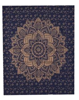 Prikrývka s tlačou, Mandala, modro-zlatý, 220x200 cm