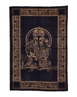Prikrývka s tlačou, čierny, zlatý tlač, Ganéša, 206x140cm