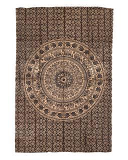 Prikrývka s tlačou, čierny, zlatý tlač, Mandala, 204x140cm