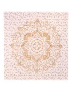 Prikrývka s tlačou, Mandala, bielo-zlatý, 220x200 cm
