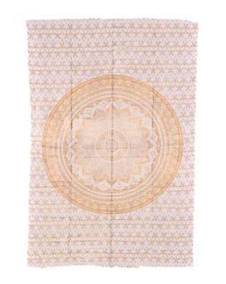 Prikrývka s tlačou, biely, zlatá tlač, Mandala, 205x136cm