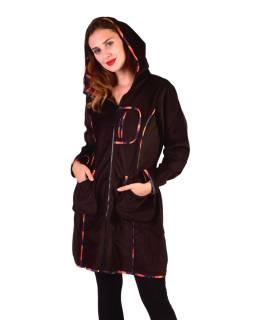 Hnedý Manšestrové kabátik s kapucňou, oranžovej lemovanie, tri vrecká, bez podšívky