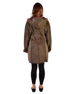 Khaki Manšestrové kabátik s kapucňou, červené lemovanie, tri vrecká, bez podšívky
