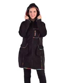Čierny Manšestrové kabátik s kapucňou, farebné lemovanie, tri vrecká, bez podšívky