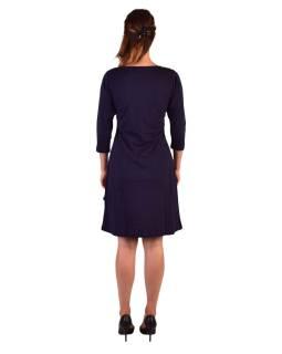 Krátke šaty s 3/4 rukávom, modré, potlač a výšivka Mandal, okrúhly výstrih