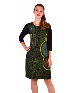 Krátke šaty s 3/4 rukávom, čierno-zelené, potlač a výšivka Mandal, okrúhly výstrih