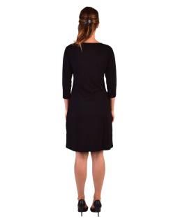 Krátke šaty, 3/4 rukáv, čierne, potlač a výšivka farebných Mandal, okrúhly výstrih