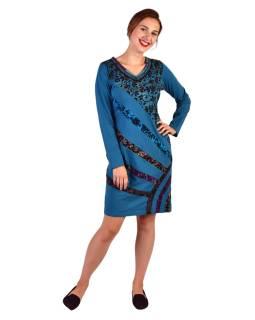 Krátke šaty s dlhým rukávom, modré, potlač a pruhy