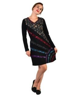 Krátke šaty s dlhým rukávom, čierne, potlač a pruhy