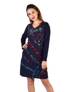 Krátke šaty s dlhým rukávom, tmavo modré, potlač a pruhy