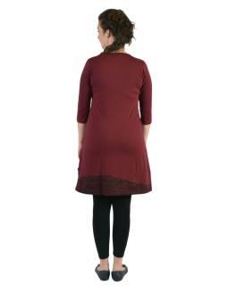 Krátke šaty, 3/4 rukáv, vínovej, čierno-vínový potlač kvetín, okrúhly výstrih
