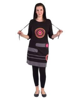 Krátke šaty, 3/4 rukáv, čierne, farebné kruhy, sivé pruhy, kapucňa