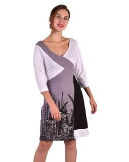 Krátke šaty, 3/4 rukáv, bielo-šedo-čierne, potlač kvetín, gumičky na chrbte