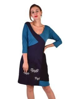 Krátke šaty, 3/4 rukáv, modro-čierne, potlač kvetín, gumičky na chrbte
