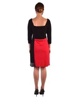 Krátke šaty, 3/4 rukáv, červeno-šedo-čierne, potlač kvetín, gumičky na chrbte