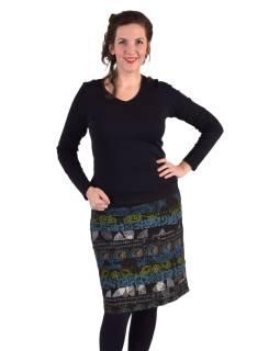 Krátka sukňa, Áčkový strih, pruhy s potlačou, čierna