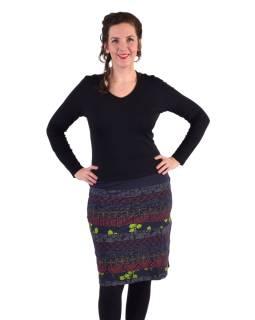 Krátka sukňa, Áčkový strih, pruhy s potlačou, modrá