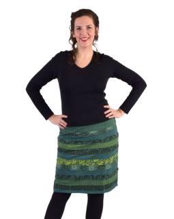 Krátka sukňa, Áčkový strih, pruhy s potlačou, zelená