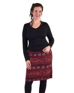 Krátka sukňa, Áčkový strih, pruhy s potlačou, vínová