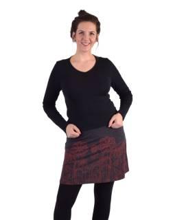 Krátka sukňa, Áčkový strih, čierno-šedá, červená potlač kvetov