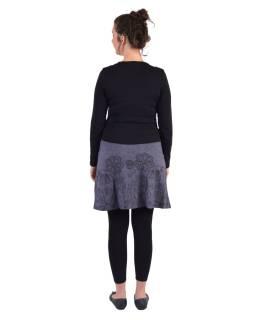 Krátka sukňa, Áčkový strih, sivá, čierna potlač kvetín