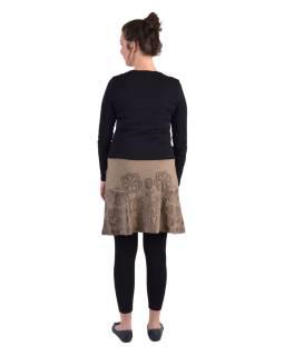 Krátka sukňa, Áčkový strih, hnedo-olivová, hnedý potlač kvetín
