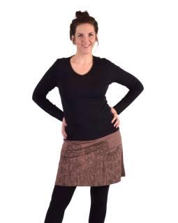 Krátka sukňa, Áčkový strih, hnedo-vínová, čierny potlač kvetín