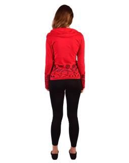 Červené tričko, dlhý rukáv, pruhy s potlačou, golier