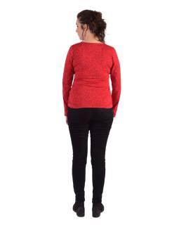 Tričko s dlhým rukávom, potlač a výšivka, V výstrih, červené