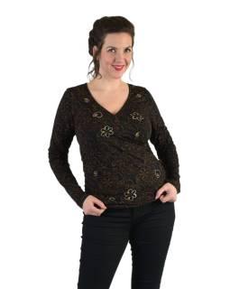 Tričko s dlhým rukávom, potlač a výšivka, V výstrih, čierne