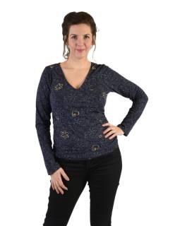 Tričko s dlhým rukávom, potlač a výšivka, V výstrih, modré