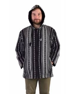 Unisex nepálska Ghar bunda s kapucňou, čiernobiela, podšívka, zapínanie na zips