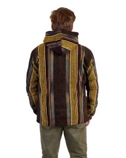 Unisex nepálska Ghar bunda s kapucňou, žltá, podšívka fleece, zapínanie na zips