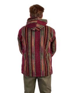 Unisex nepálska Ghar bunda s kapucňou, červená, podšívka fleece, zapínanie na zips