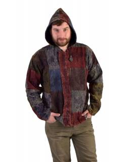 Pánska bunda s kapucňou zapínaná na zips, potlač, stone wash