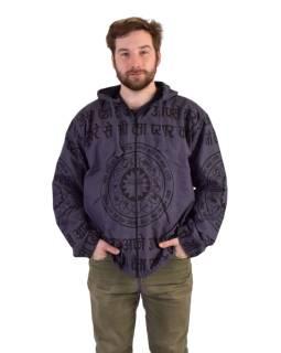 Pánska bunda s kapucňou zapínaná na zips, šedá, potlač